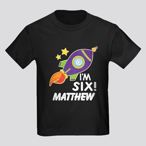 6th Birthday Space Rocket Personalized T-Shirt